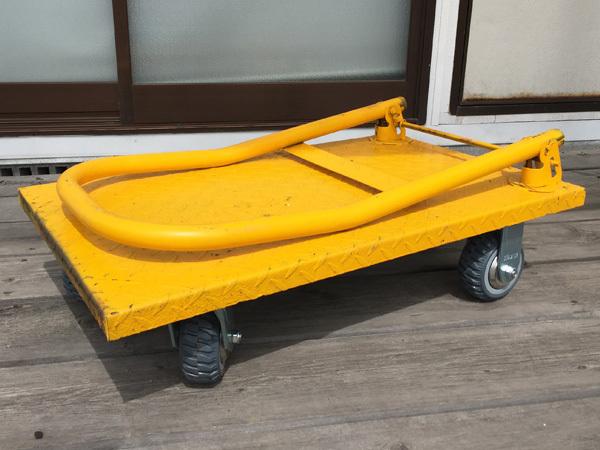 訳有限定特価 スチール台車 耐荷重150kg 折りたたみ式 キャリーカート 頑丈キャスター 黄/21_画像2