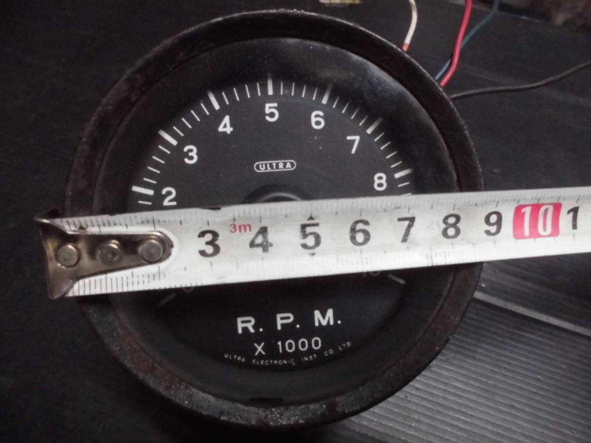 激レア 当時物 旧ロゴ ウルトラ 永井電子 タコメーター ULTRA 4気筒 FJ1600 10000RPM 80Φ 1万回転 旧車 族車 6気筒 _画像7