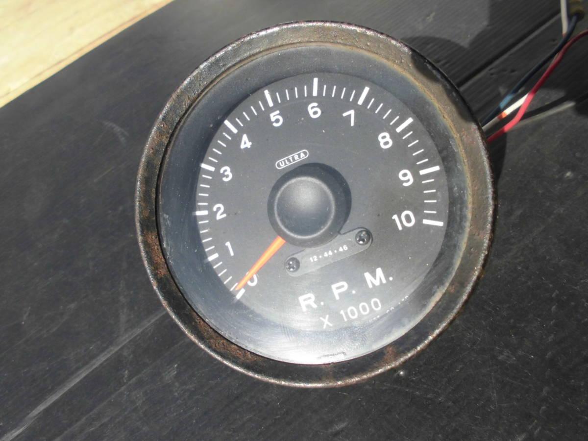 激レア 当時物 旧ロゴ ウルトラ 永井電子 タコメーター ULTRA 4気筒 FJ1600 10000RPM 80Φ 1万回転 旧車 族車 6気筒 _画像9