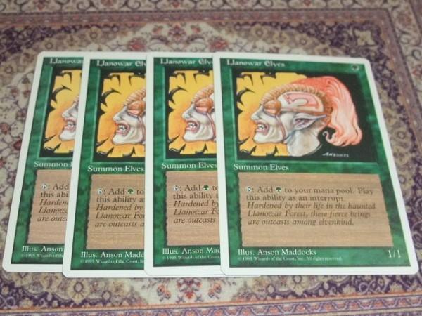 ◆◇MTG  英 [4ED] 【ラノワールのエルフ/Llanowar Elves】4枚◇◆_画像1