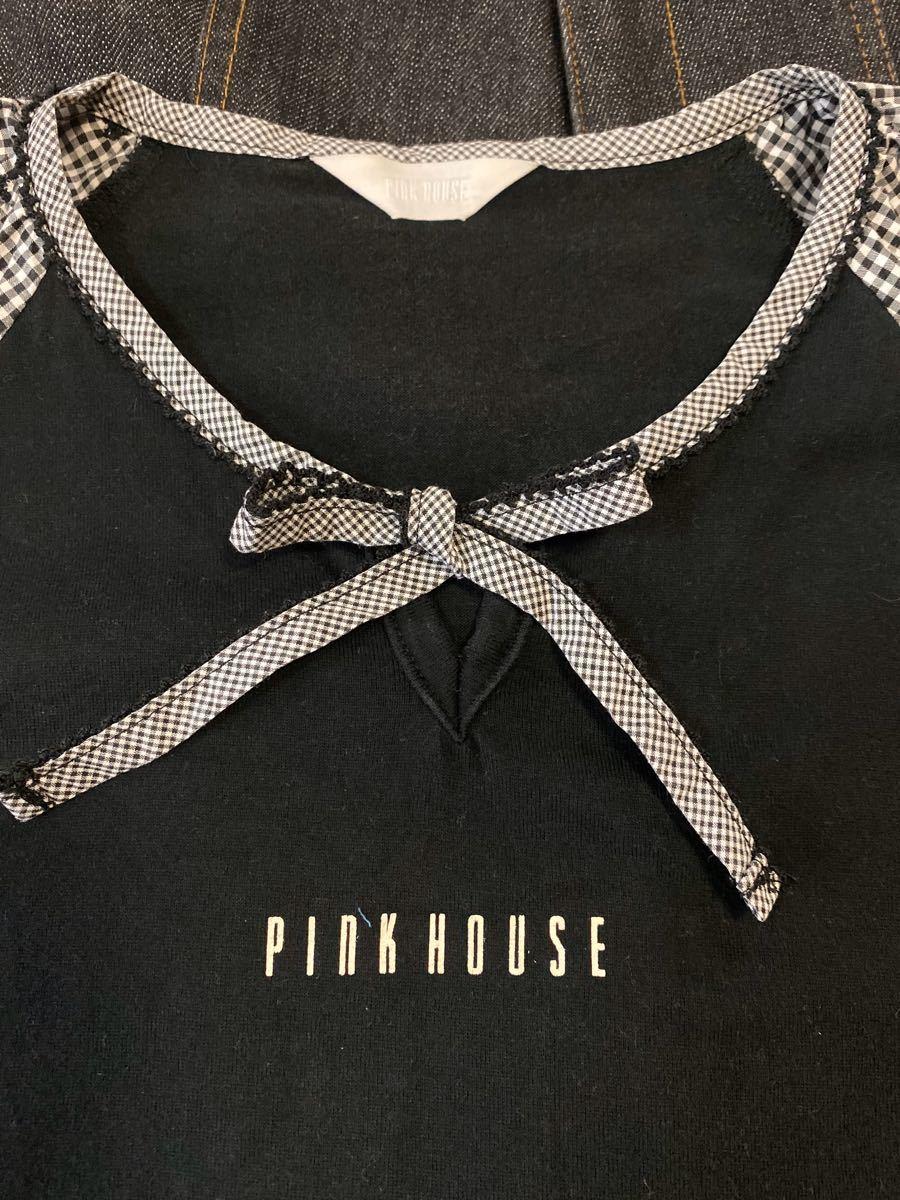ピンクハウス 2種類の生地を使った可愛い黒の半袖Tシャツのみ