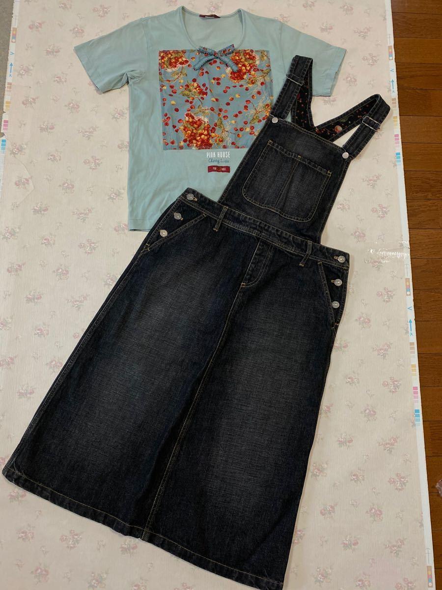 ピンクハウス ゼッケン・チェリー・さくらんぼ・籠シリーズ 水色半袖Tシャツのみ
