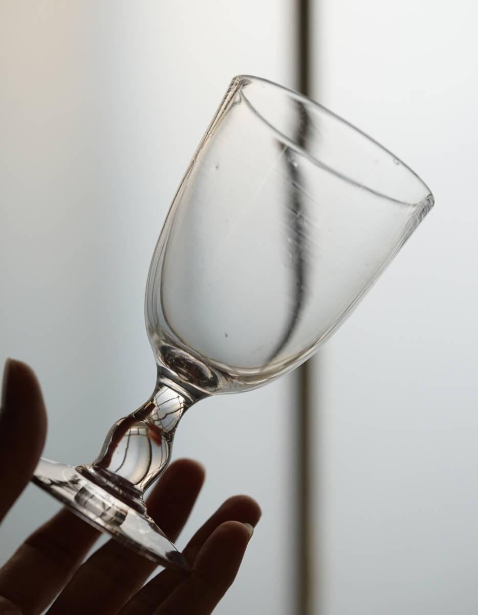 手吹きガラスのゴンドラ型のビストログラス / 19世紀・フランス / アンティーク 古道具 ワイングラス B_画像4