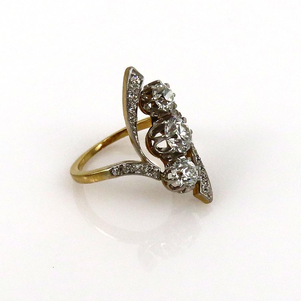 アンティーク◆オールドマイン・カット《1.75ct ダイヤモンド》プラチナ・K18・リング指輪_画像8