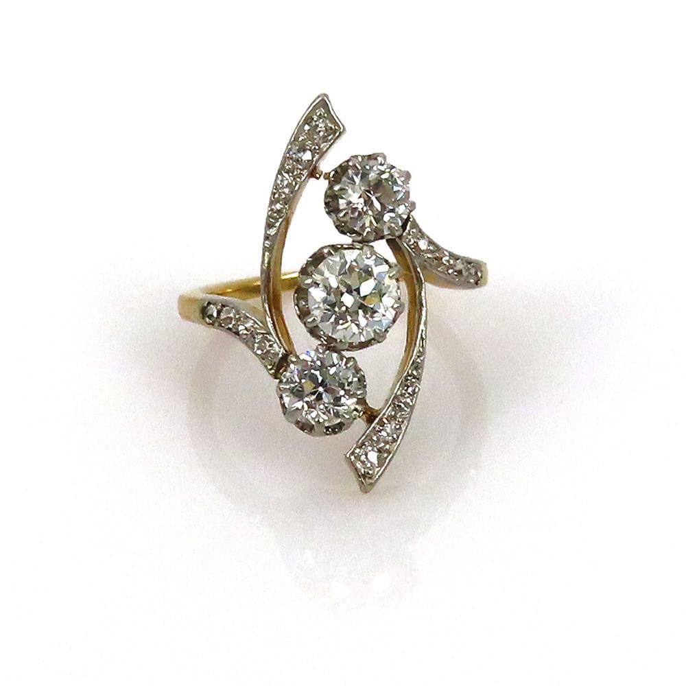 アンティーク◆オールドマイン・カット《1.75ct ダイヤモンド》プラチナ・K18・リング指輪_画像9