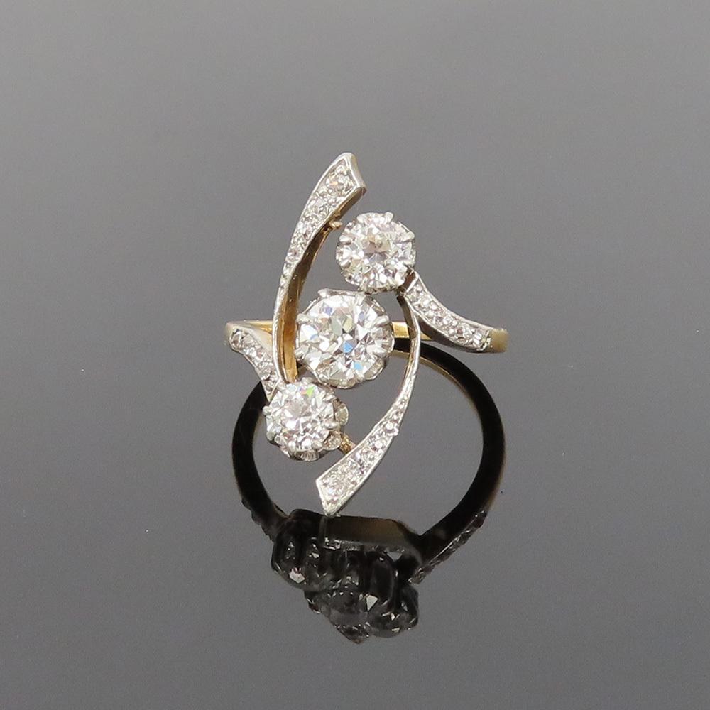 アンティーク◆オールドマイン・カット《1.75ct ダイヤモンド》プラチナ・K18・リング指輪_画像2