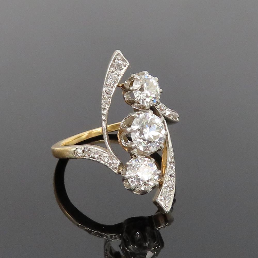 アンティーク◆オールドマイン・カット《1.75ct ダイヤモンド》プラチナ・K18・リング指輪_画像1