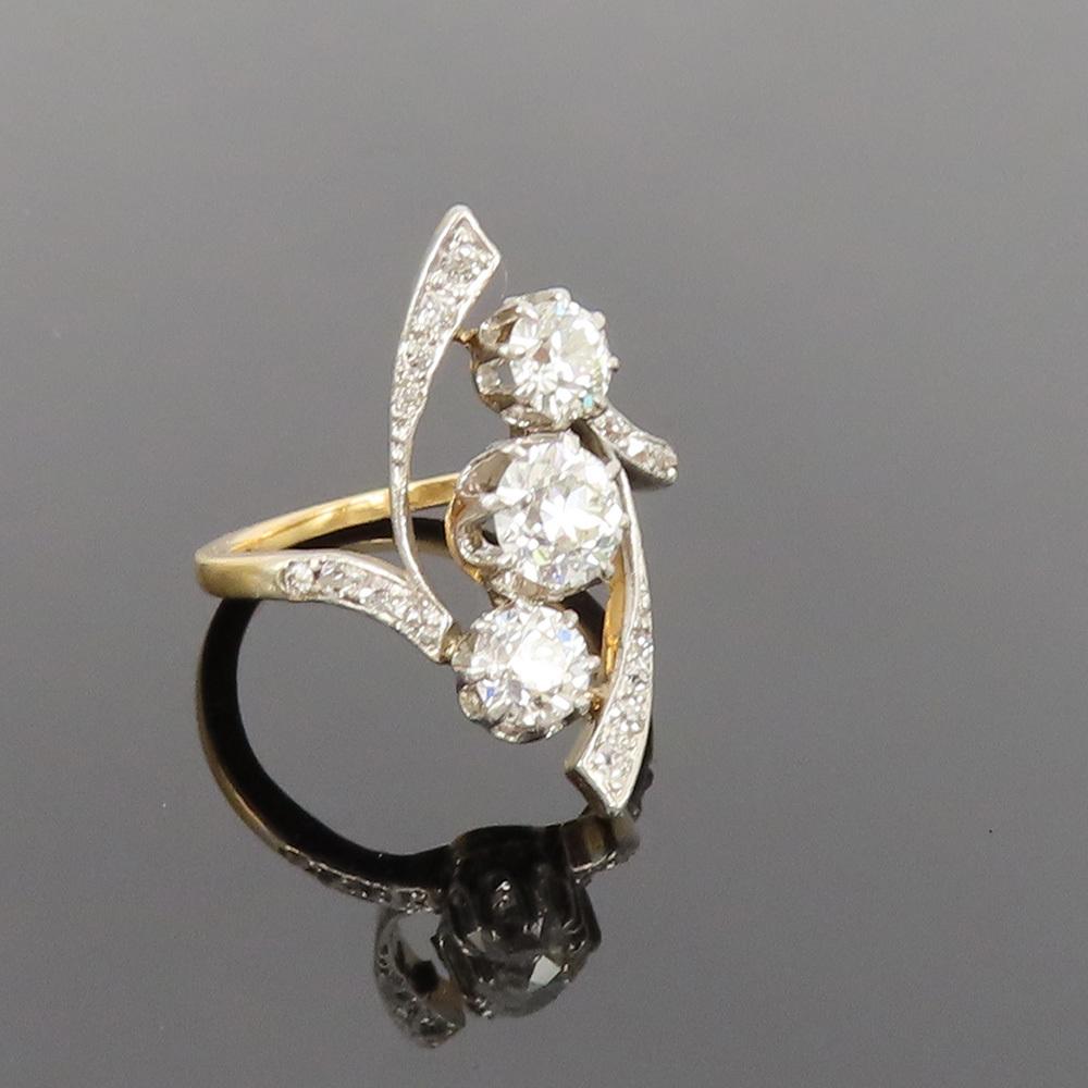アンティーク◆オールドマイン・カット《1.75ct ダイヤモンド》プラチナ・K18・リング指輪_画像7