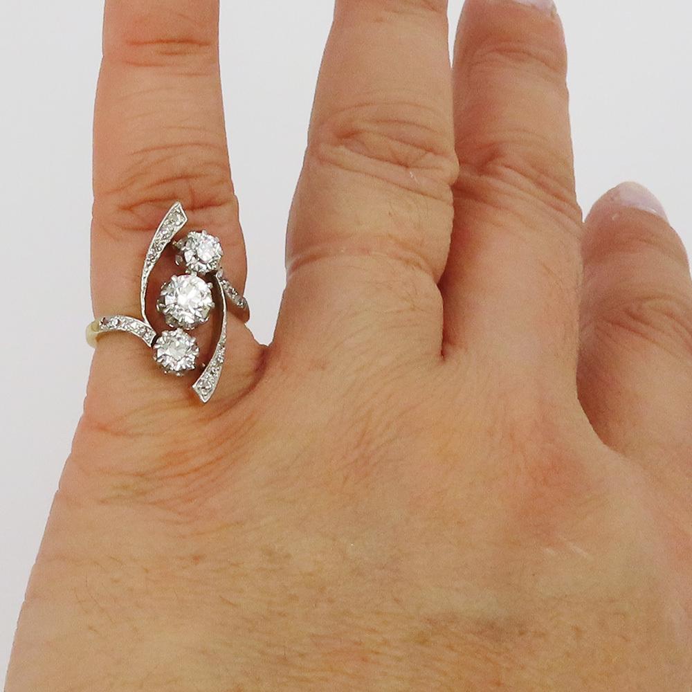 アンティーク◆オールドマイン・カット《1.75ct ダイヤモンド》プラチナ・K18・リング指輪_画像6