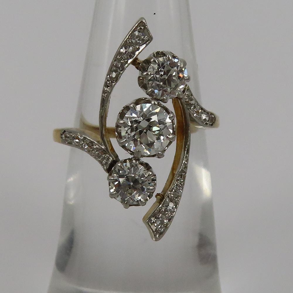 アンティーク◆オールドマイン・カット《1.75ct ダイヤモンド》プラチナ・K18・リング指輪_画像4