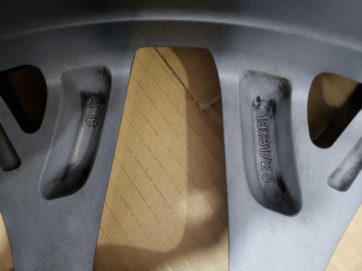 スバル WRX STI type-s VAB F型 純正ホイール2本 19×8.5j +55 114.3 5Hリム浅い傷あり センターキャップ無 GDB GRB 流用等 _画像5