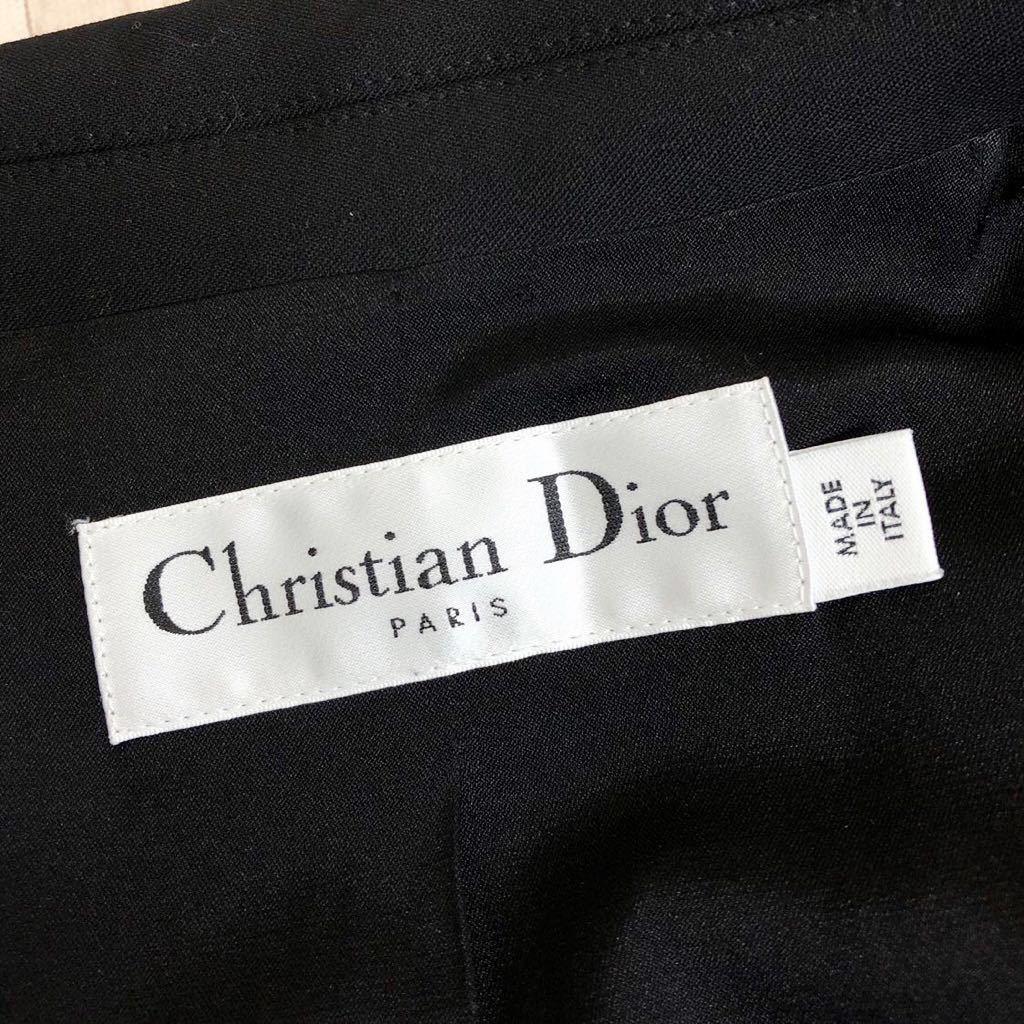 Christian Dior ディオール ストレッチ ウール チェスター ロング コート 裏地シルク 通年素材 size40 S~M位 黒 イタリア製 国内正規品_画像8