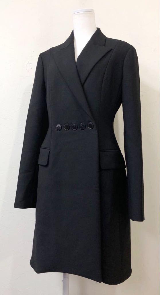 Christian Dior ディオール ストレッチ ウール チェスター ロング コート 裏地シルク 通年素材 size40 S~M位 黒 イタリア製 国内正規品_画像1