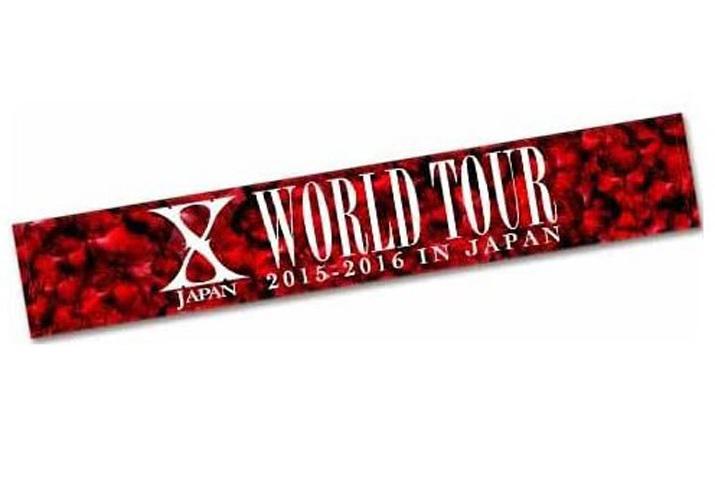 エックスジャパン/ヨシキ【X JAPAN/YOSHIKI】~X JAPAN WORLD TOUR 2015-2016 IN JAPAN 公式海外グッズ~マフラータオル/レッド☆未開封品_画像2