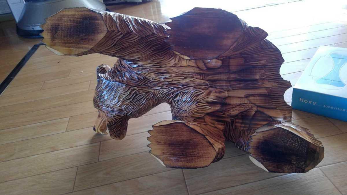 ★大サイズ 木彫りの熊 木彫置物 北海道 古民芸 民芸品 彫刻 ヒグマ 熊の木彫り_画像5