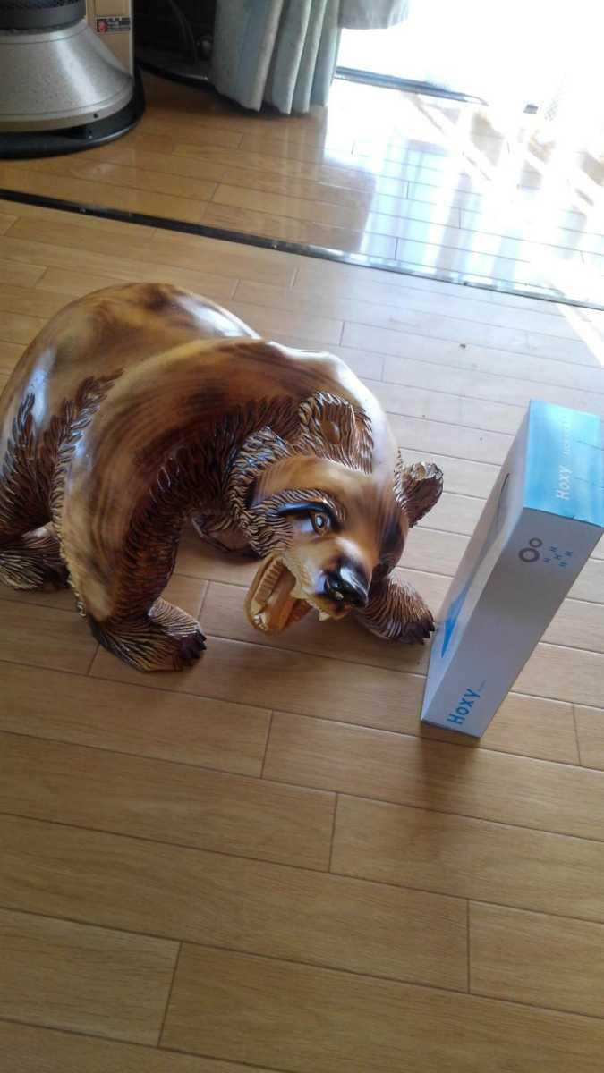 ★大サイズ 木彫りの熊 木彫置物 北海道 古民芸 民芸品 彫刻 ヒグマ 熊の木彫り_画像2
