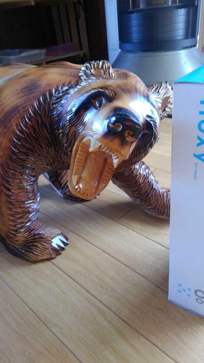 ★大サイズ 木彫りの熊 木彫置物 北海道 古民芸 民芸品 彫刻 ヒグマ 熊の木彫り_画像3