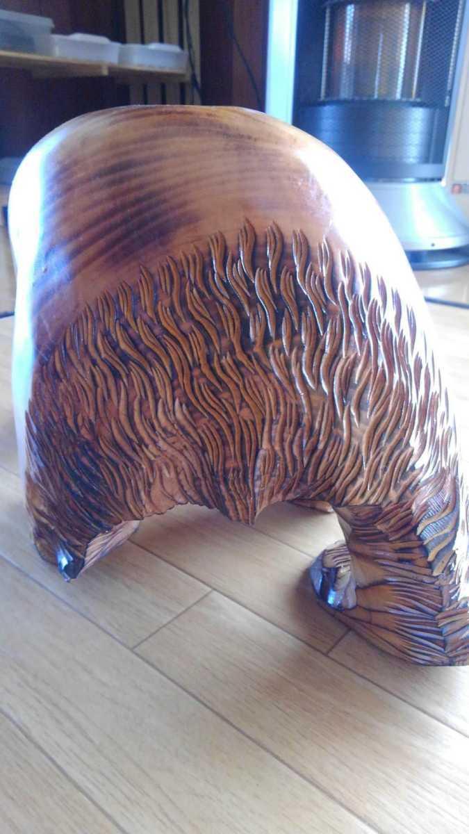 ★大サイズ 木彫りの熊 木彫置物 北海道 古民芸 民芸品 彫刻 ヒグマ 熊の木彫り_画像6