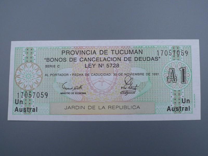 未使用 紙幣 1991年 アルゼンチン 1アウストラル