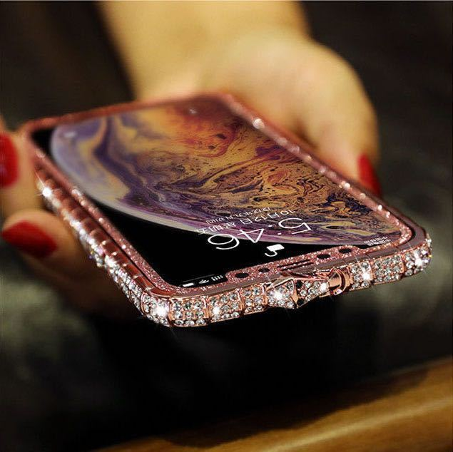 iPhoneXR ピンク(ローズゴールド) ダイヤモンド枠式ケース 前後キラキラ保護シール付き_画像2