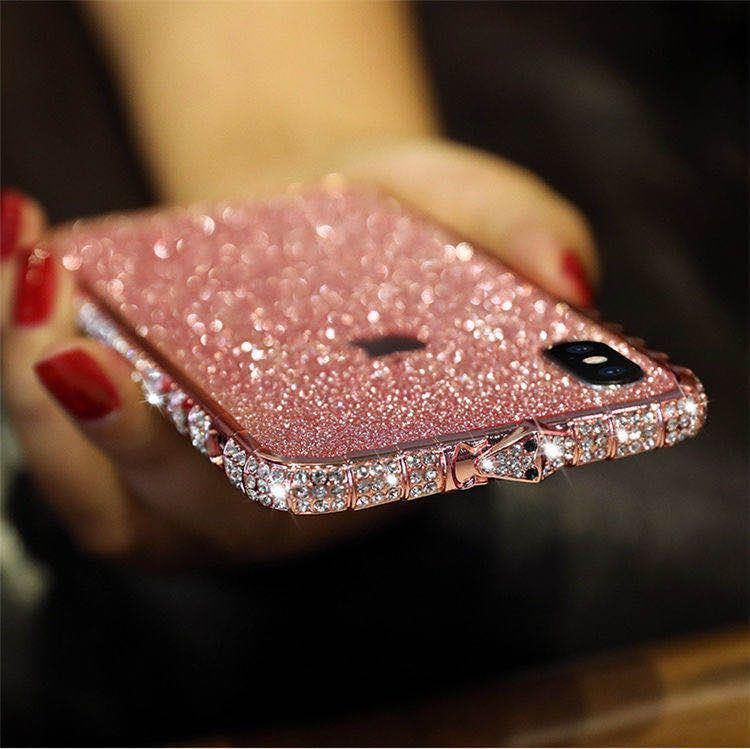 iPhoneXR ピンク(ローズゴールド) ダイヤモンド枠式ケース 前後キラキラ保護シール付き_画像1