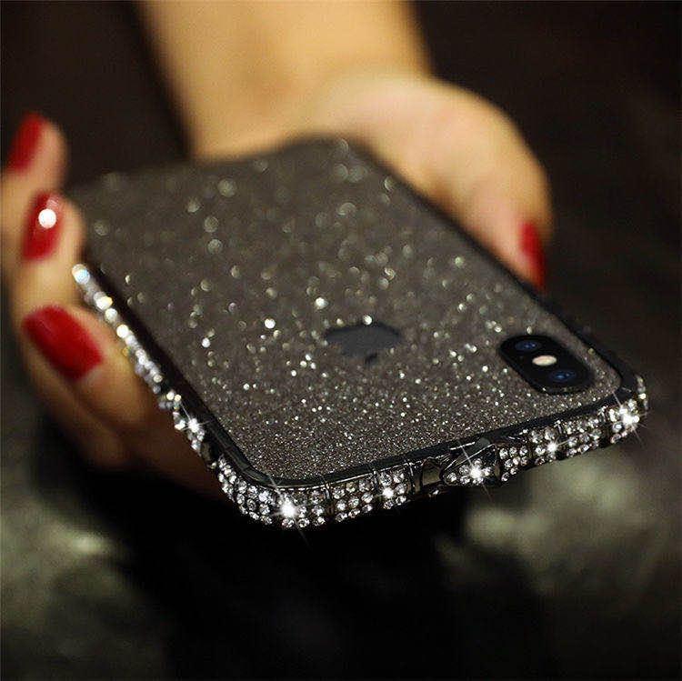 iPhoneXR ピンク(ローズゴールド) ダイヤモンド枠式ケース 前後キラキラ保護シール付き_画像8