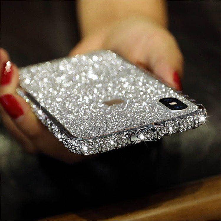 iPhoneXR ピンク(ローズゴールド) ダイヤモンド枠式ケース 前後キラキラ保護シール付き_画像7