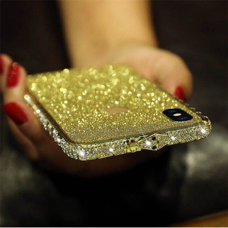 iPhoneXR ピンク(ローズゴールド) ダイヤモンド枠式ケース 前後キラキラ保護シール付き_画像9