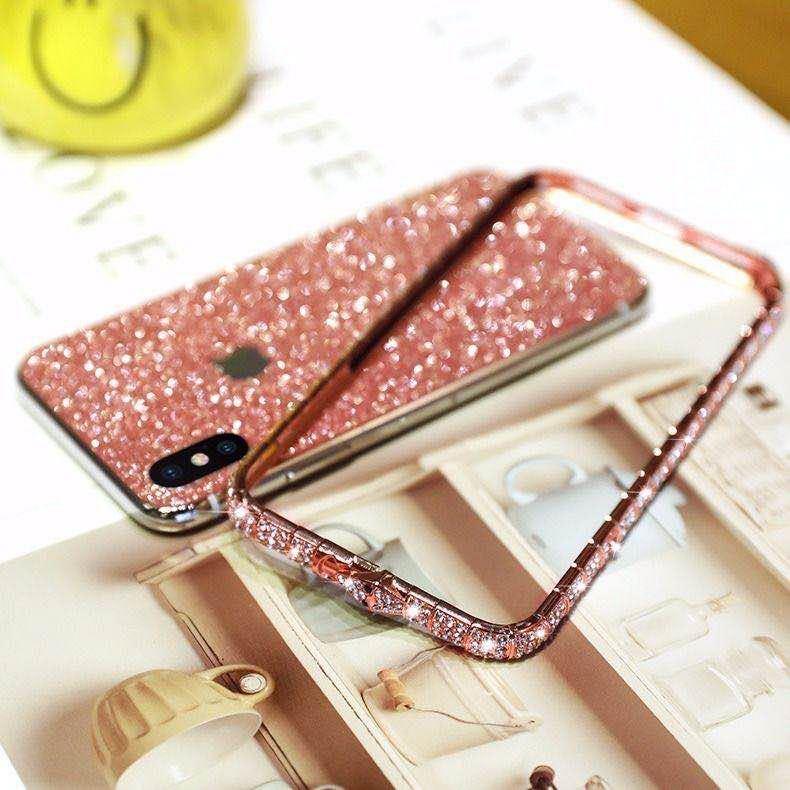 iPhoneXR ピンク(ローズゴールド) ダイヤモンド枠式ケース 前後キラキラ保護シール付き_画像3