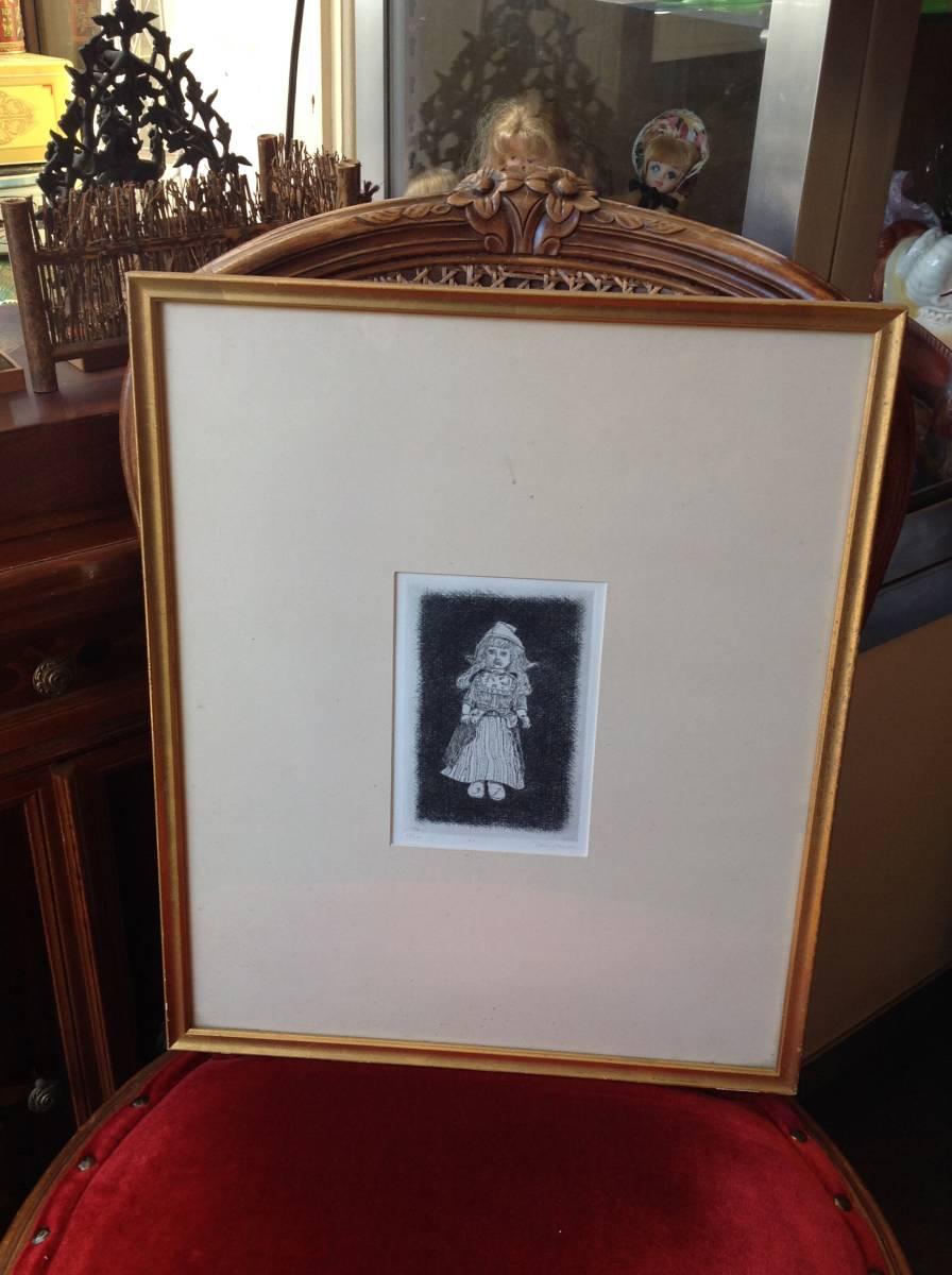 真作保証 駒井哲郎 銅版画 1966年作 西洋人形 限定200部 作家略歴付き_画像1