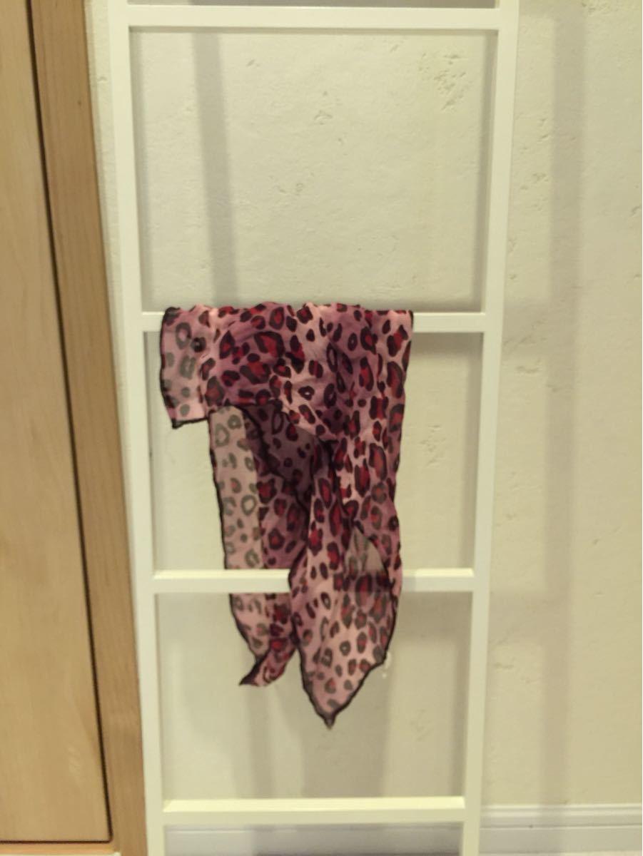 ピンクレオパード柄シルクミニスカーフ