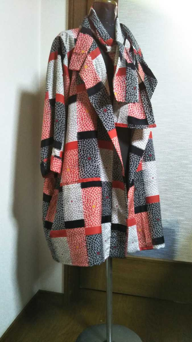 Kimono remake Japanese Taisho period 銘仙 Of 長羽 woven from light coat♪