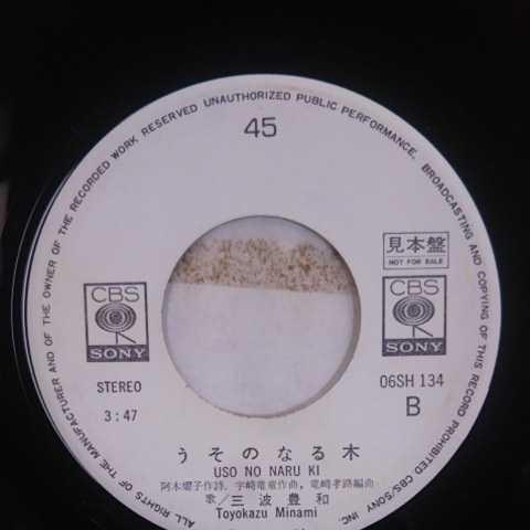 プロモ盤/三波豊和/青春のカタログ、うそのなる木《白ラベル・見本盤・非売品・EP・06SH 134・1977》_画像6