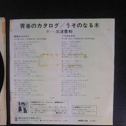 プロモ盤/三波豊和/青春のカタログ、うそのなる木《白ラベル・見本盤・非売品・EP・06SH 134・1977》_画像4