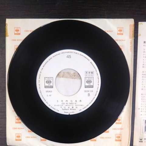 プロモ盤/三波豊和/青春のカタログ、うそのなる木《白ラベル・見本盤・非売品・EP・06SH 134・1977》_画像5