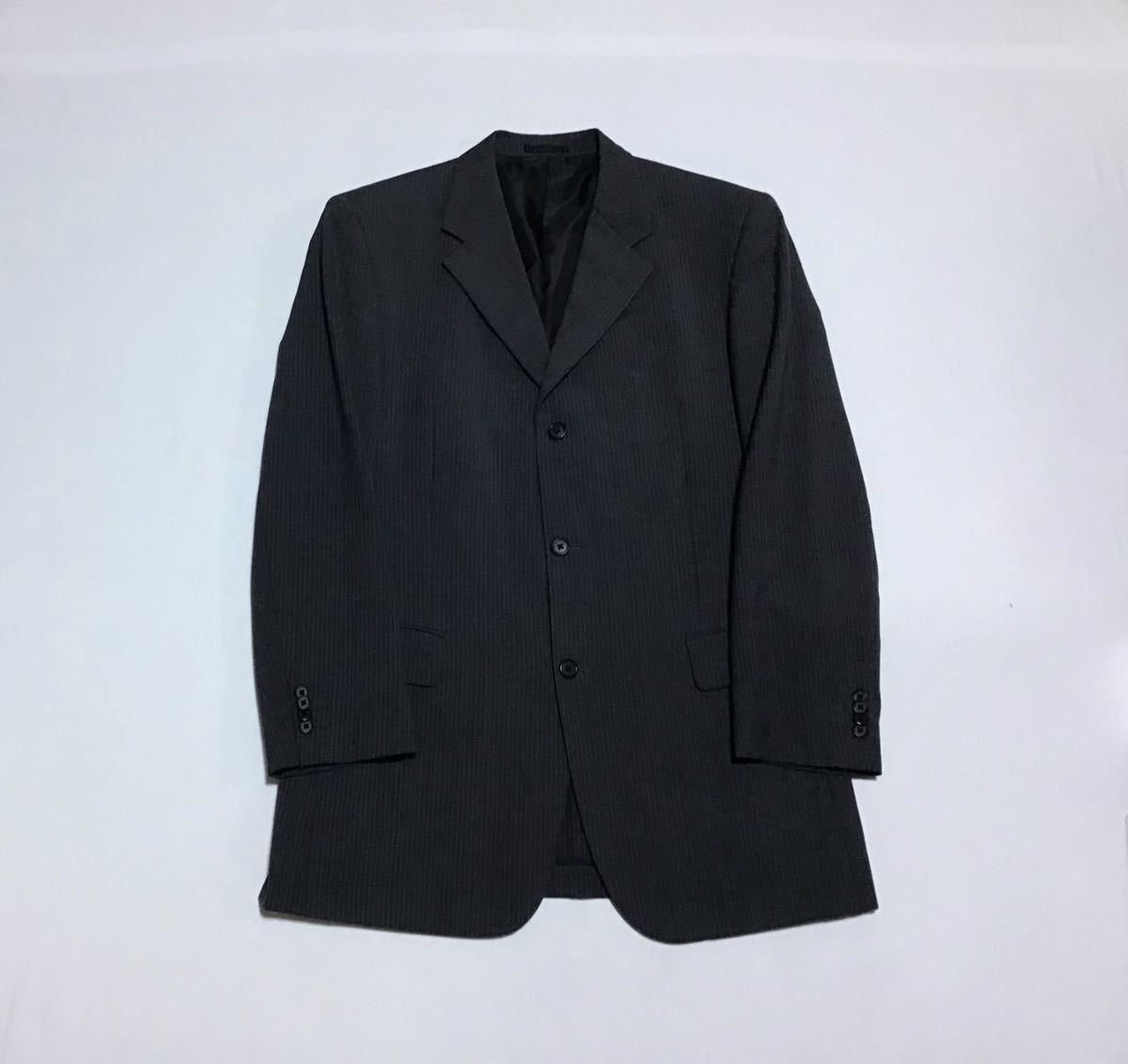 GIORGINI ジョルジー二 // 背抜き (春夏) ストライプ柄 ノーベンツ シングル テーラード ジャケット (グレー) サイズ 96A7 (LL)
