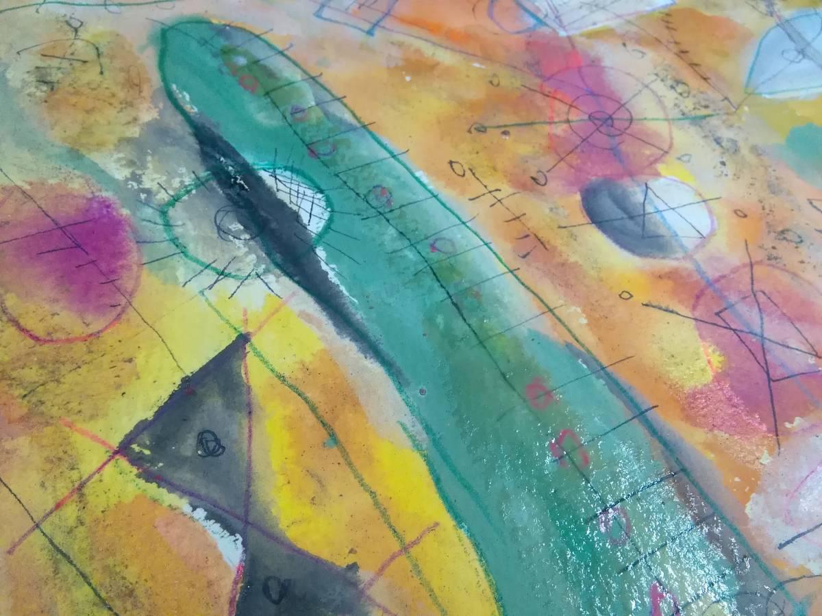 絵画美術 水彩画 画家TADAO作 直筆肉筆 アートなデザインのおしゃれな古い絵 サイン 額装品_画像3