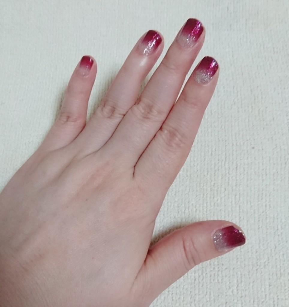 ジェルネイルシール グリッターグラデーション 濃いピンク 3枚セット 新品☆