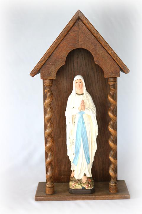 ■ ルルドのマリア様石膏像とお像台セット/アンティーク ■_画像1