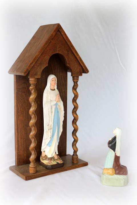 ■ ルルドのマリア様石膏像とお像台セット/アンティーク ■_画像4