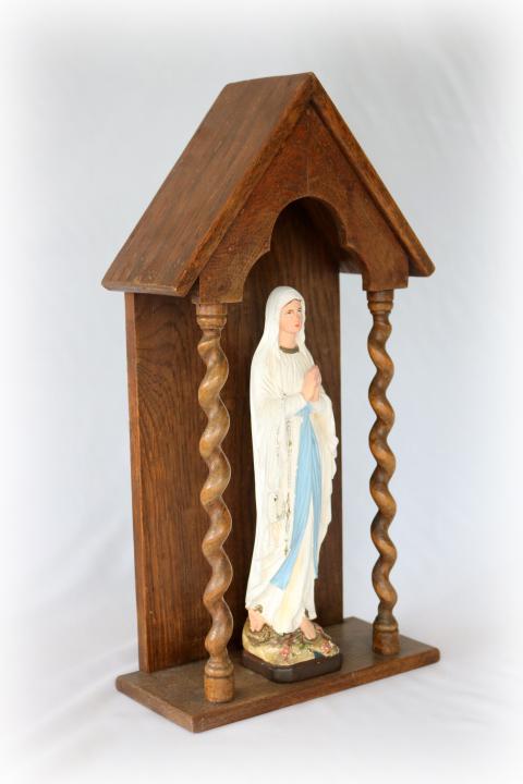 ■ ルルドのマリア様石膏像とお像台セット/アンティーク ■_画像3