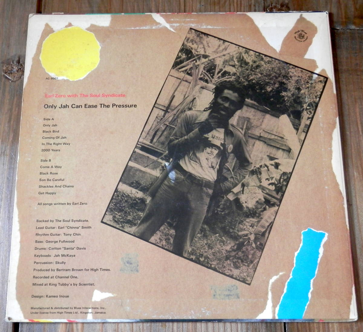 国内'84【LP】Earl Zero with The Soul Syndicate/Only Jah Can Ease The Pressure_画像2