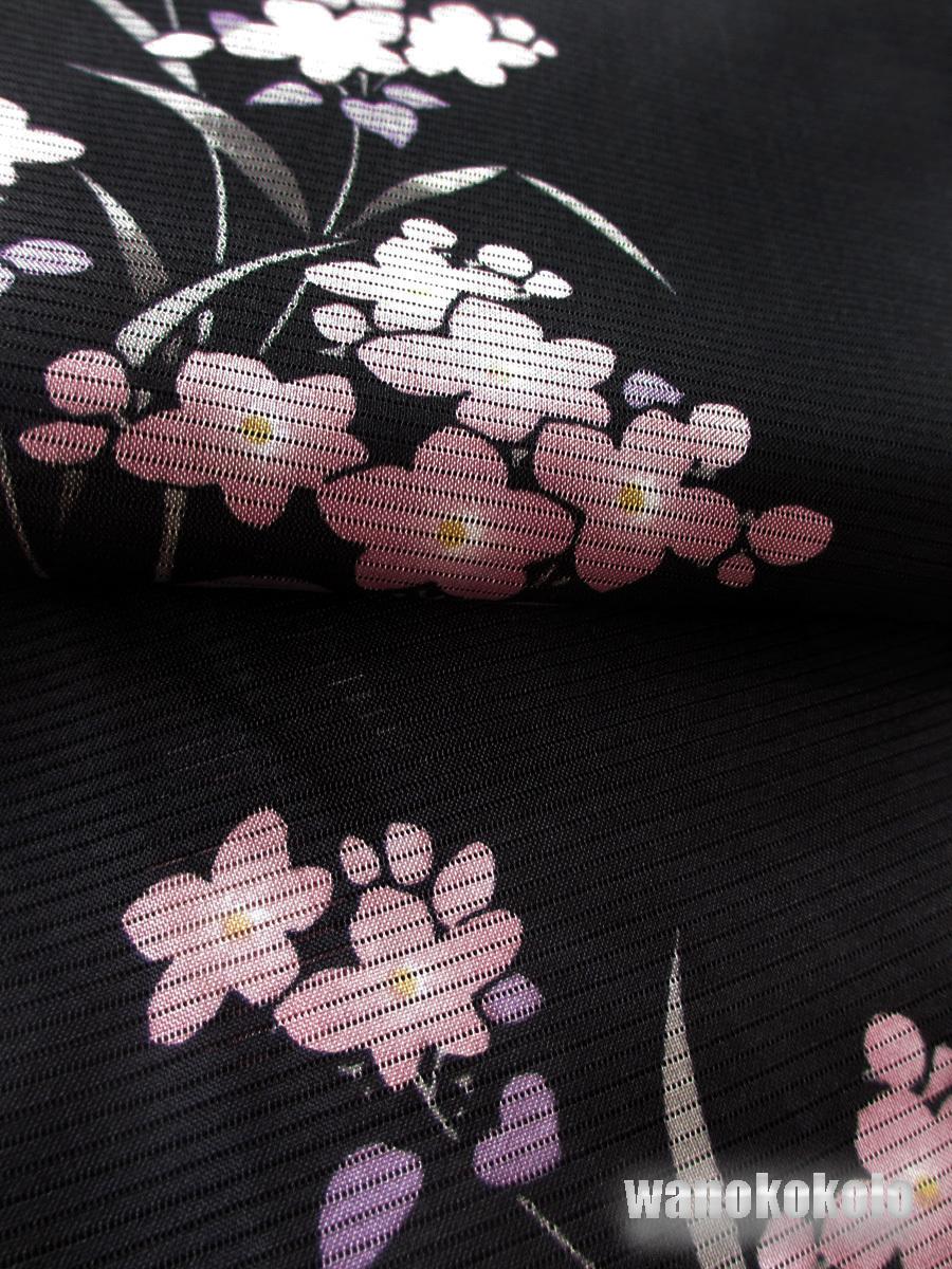 【和の志】夏の洗える着物◇絽・Lサイズ◇黒系・草花柄◇RKL-28_画像2