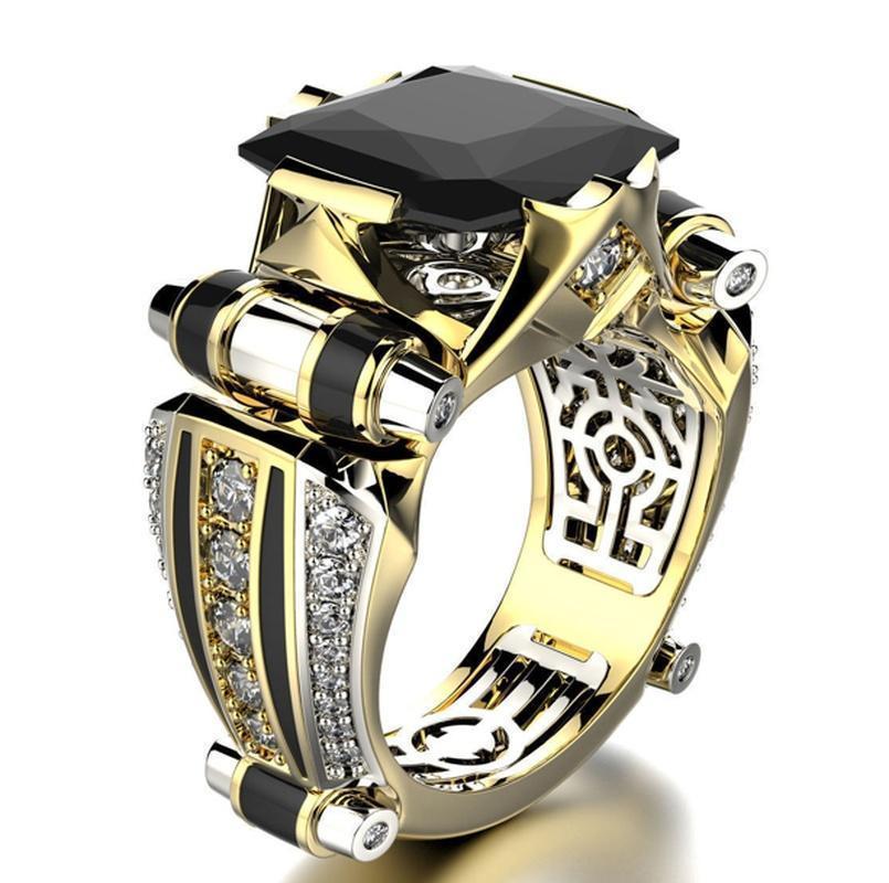 【1円スタート】クラシックゴールドクリスタルジルコン結婚指輪カラフルな宝石婚約カクテルパーティー女性男性の恋人のギフトジュエリー_画像4