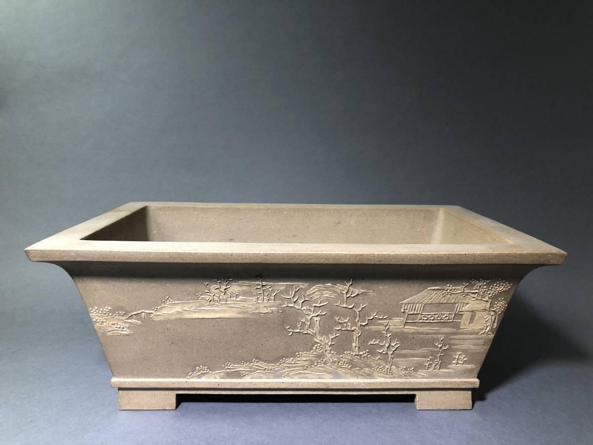 中国白泥古盆器外縁下帯切足山水図長方鉢