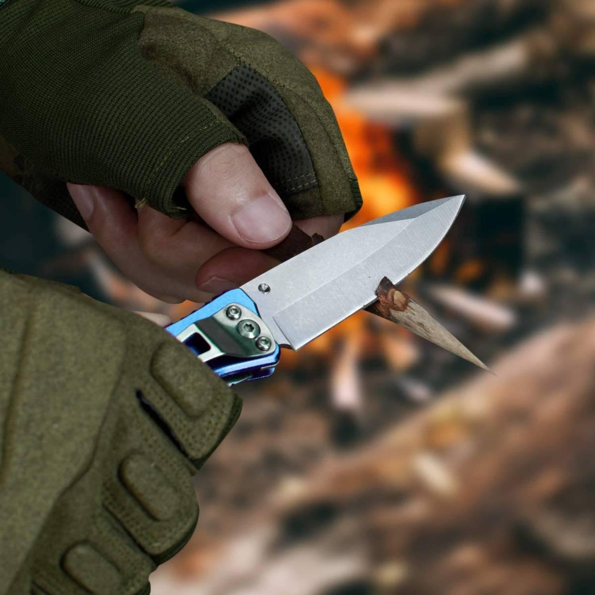 【送料無料】 MOSSY OAK 折りたたみナイフ フォールディングナイフ 3-IN-1多機能ナイフ 栓抜き ブルー 青