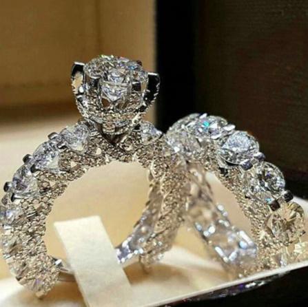 A521 クリスタルジルコンウェディングリング2点セット 925シルバー 5-12サイズ【新品未使用】ブライダルジュエリー 女性 婚約指輪 ギフト_画像1