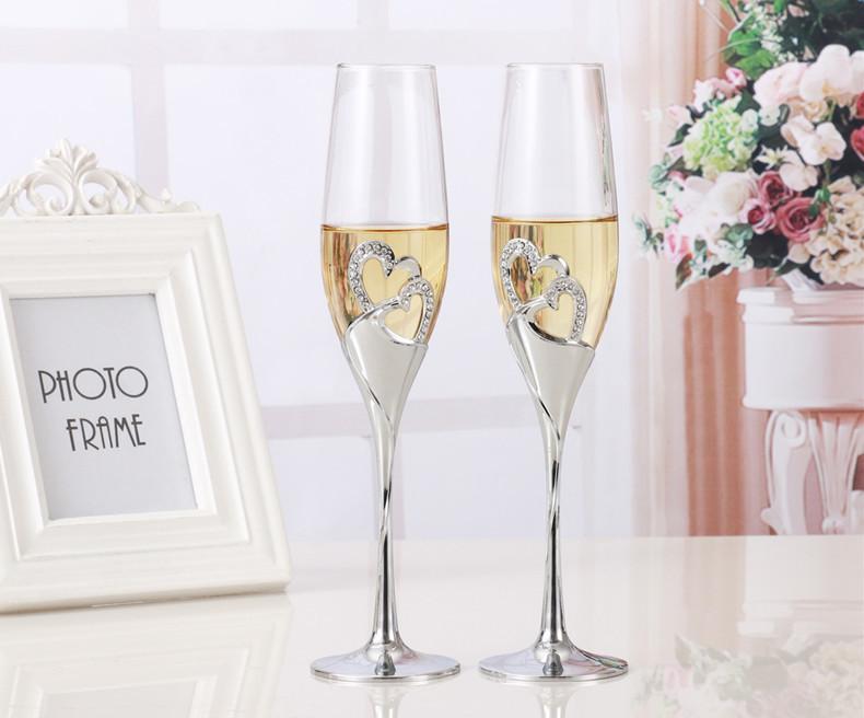 おうちで乾杯☆シャンパングラス2ピース フルート ワイン ギフト プレゼント 結婚 記念日 おしゃれ ハート ラインストーン シルバー DD352_画像5
