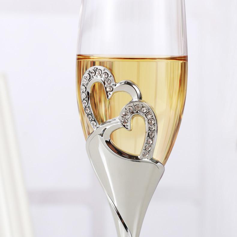 おうちで乾杯☆シャンパングラス2ピース フルート ワイン ギフト プレゼント 結婚 記念日 おしゃれ ハート ラインストーン シルバー DD352_画像2