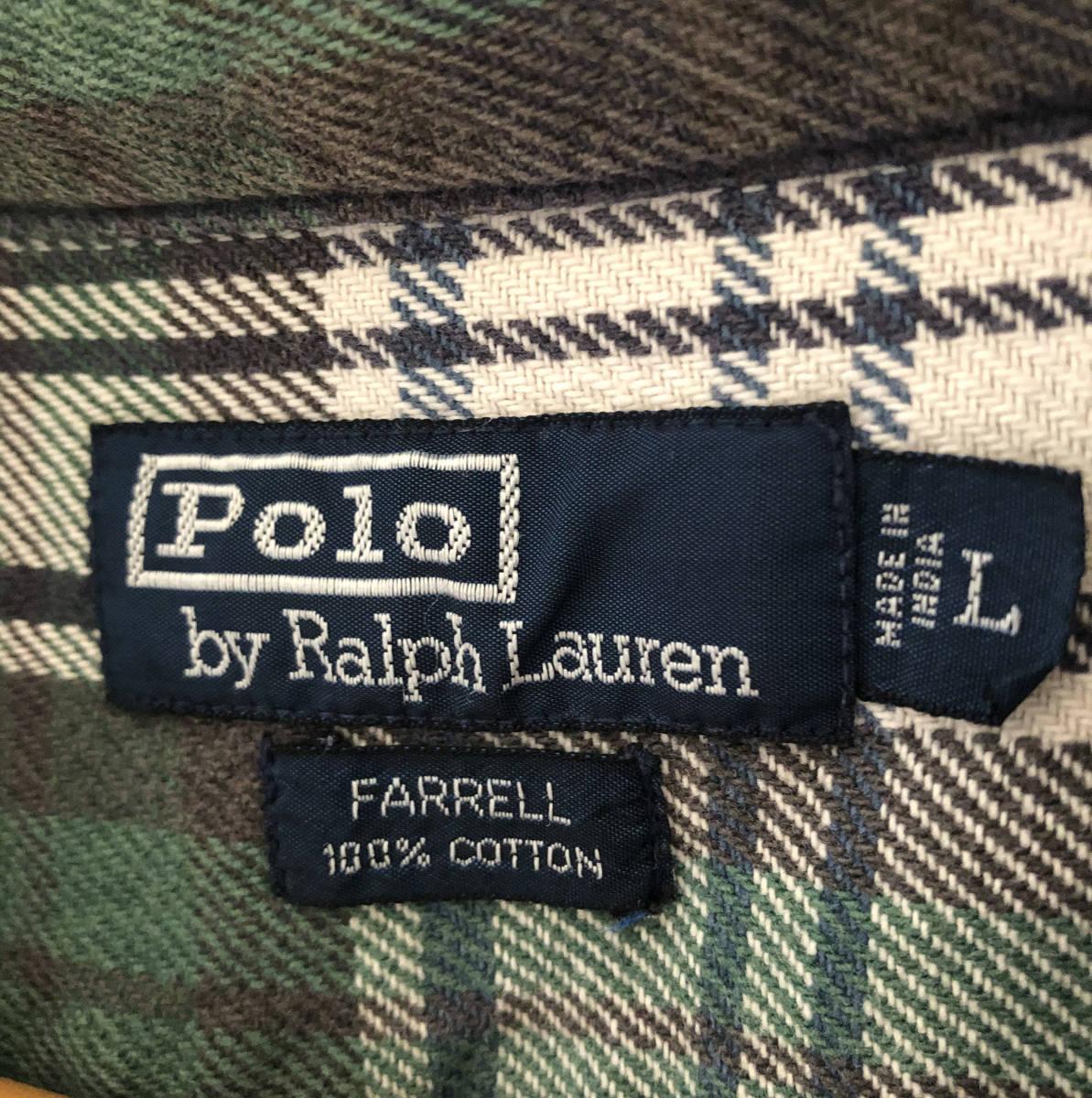 【size L】90s polo ラルフローレン RALPH LAUREN チェック柄シャツ ボタンダウン 古着 80s 70s 40s 50s ヴィンテージ ビンテージ vintage_画像4
